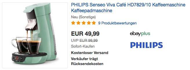 PHILIPS Senseo Viva Café HD7829/10 Kaffeepadmaschine in Mint-Grün (neu und unbenutzt, aber leichte Verpackungsmängel können vorhanden sein)