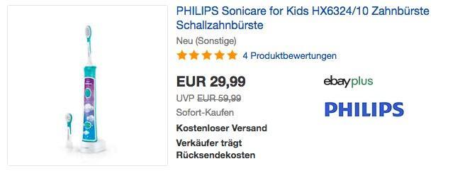 PHILIPS Sonicare for Kids HX6324/10 Elektrische Zahnbürste mit Schalltechnologie  (neu und unbenutzt aber leichte Verpackungsmängel können vorhanden sein)