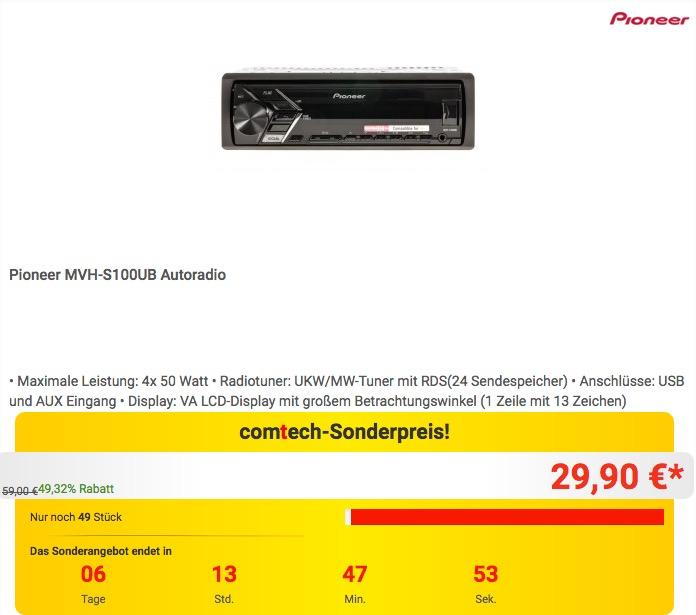 Pioneer MVH-S100UB Autoradio