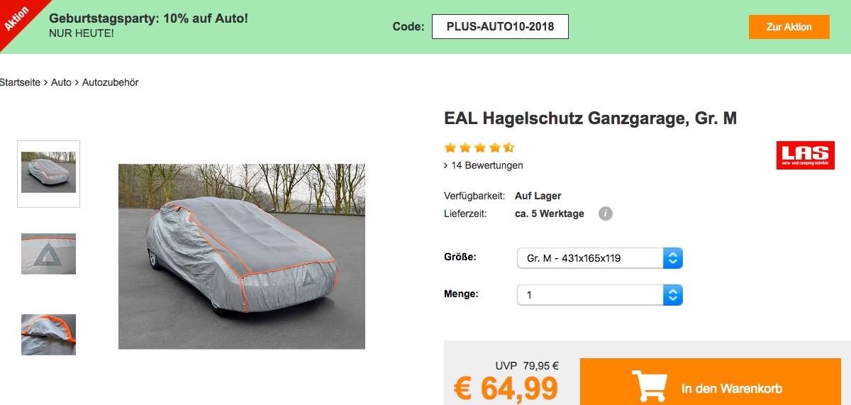 Plus.de - 10% Rabatt auf Autozubehör: z.B. EAL Hagelschutz Ganzgarage in Gr. M