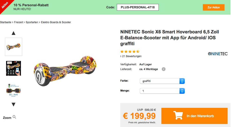 Plus.de - 10% Rabatt auf fast alles am 25.11.18: z.B.  NINETEC Sonic X6 Smart Hoverboard 6,5 Zoll