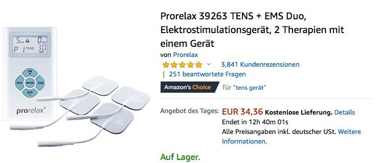 Prorelax 39263 TENS + EMS Duo Elektrostimulationsgerät, 2 Therapien mit einem Gerät