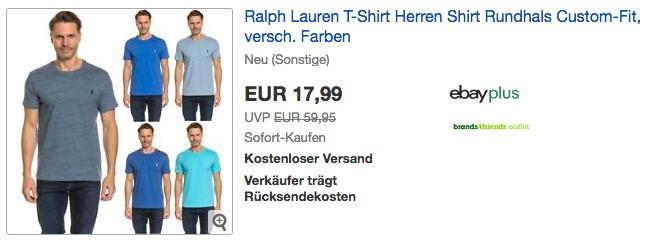 Ralph Lauren Herren T-Shirt Rundhals Custom-Fit