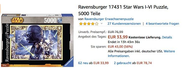 Ravensburger 17431 Star Wars I-VI Puzzle 5000 Teile