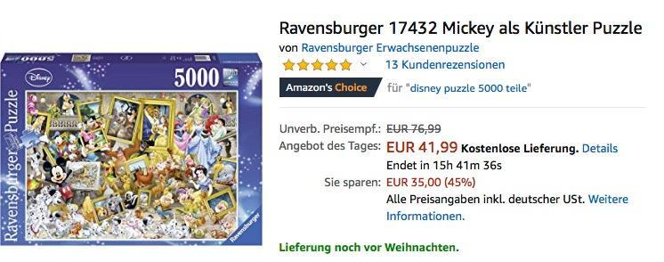 Ravensburger 17432 Mickey als Künstler Puzzle