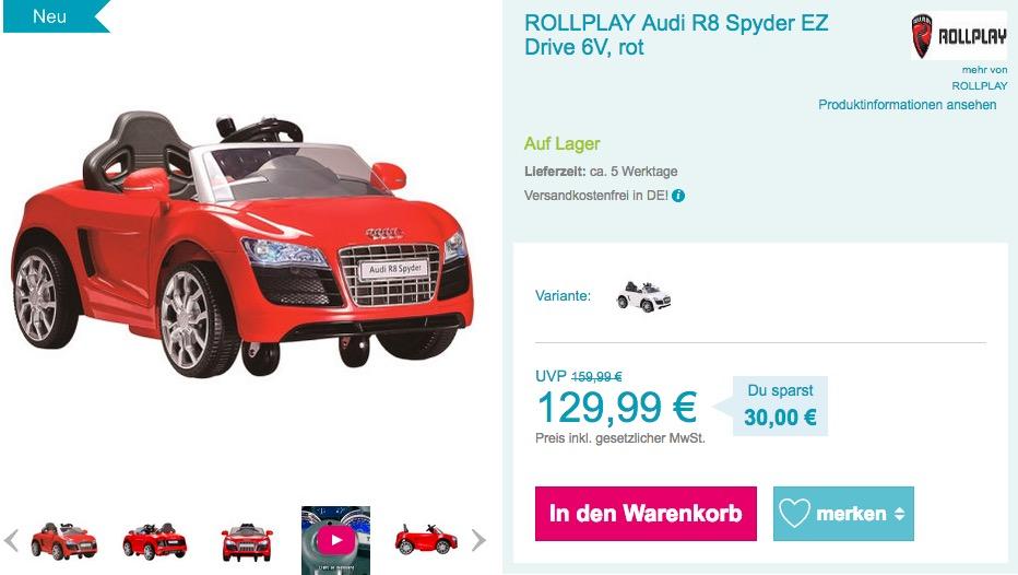 ROLLPLAY Audi R8 Spyder EZ Drive 6V Kinder Elektroauto