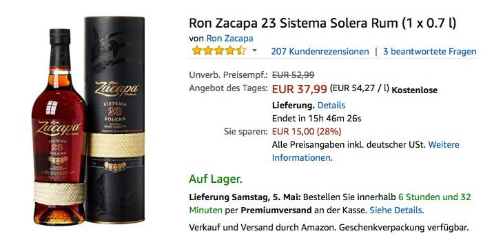 Ron Zacapa 23 Sistema Solera Rum 0.7 l