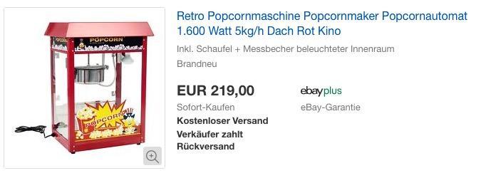 Royal Catering Popcornmaschine, Dach Rot, 1.600 Watt, 5kg/h