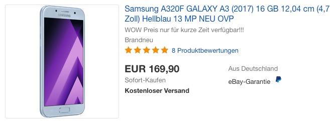 Samsung A320F GALAXY A3 (2017) 16 GB blau