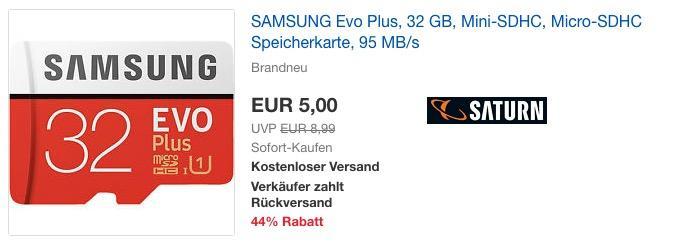 SAMSUNG Evo Plus 32 GB Micro-SDHC Speicherkarte