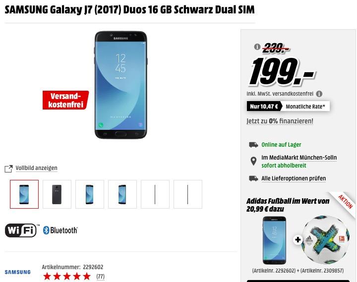 SAMSUNG Galaxy J7 (2017) Duos 16 GB Schwarz Dual SIM