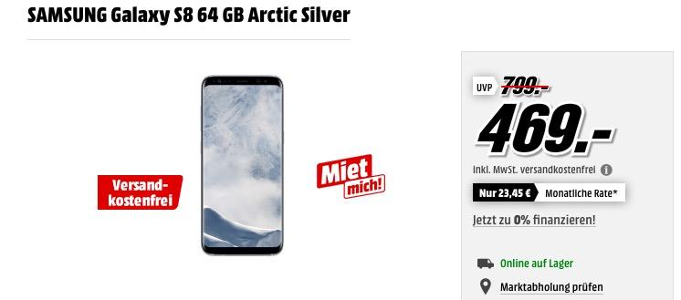 SAMSUNG Galaxy S8 64 GB +Terratec VR-Brille und Ultron Selfie Stick