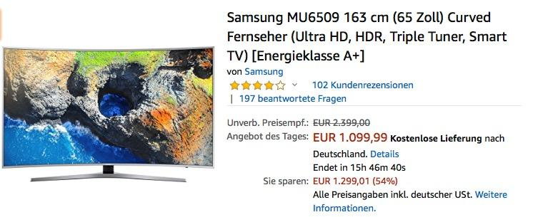 Samsung MU6509 163 cm (65 Zoll) Curved Fernseher