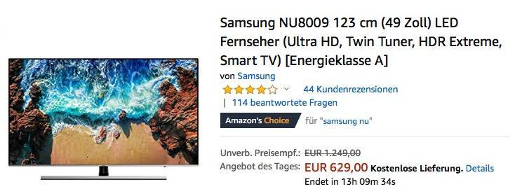 Samsung NU8009 123 cm (49 Zoll) Ultra-HD Fernseher