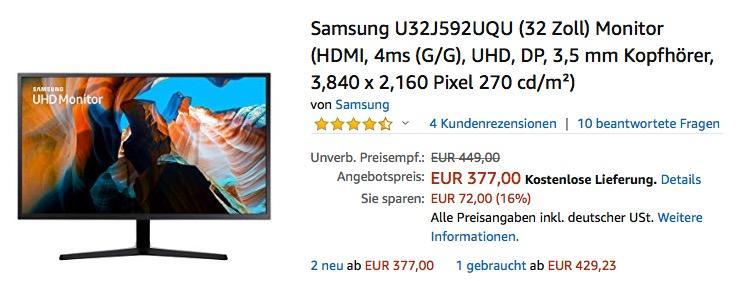 Samsung U32J592UQU (32 Zoll) UHD-Monitor