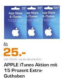 Saturn -15% Extra-Guthaben auf iTunes-Geschenkkarte 25€, 50€ oder 100€: z.B. 50€ iTunes-Geschenkkarte