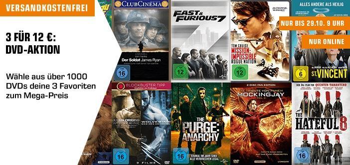 Saturn Aktion: 3 DVDs für 12€ - jetzt 33% billiger
