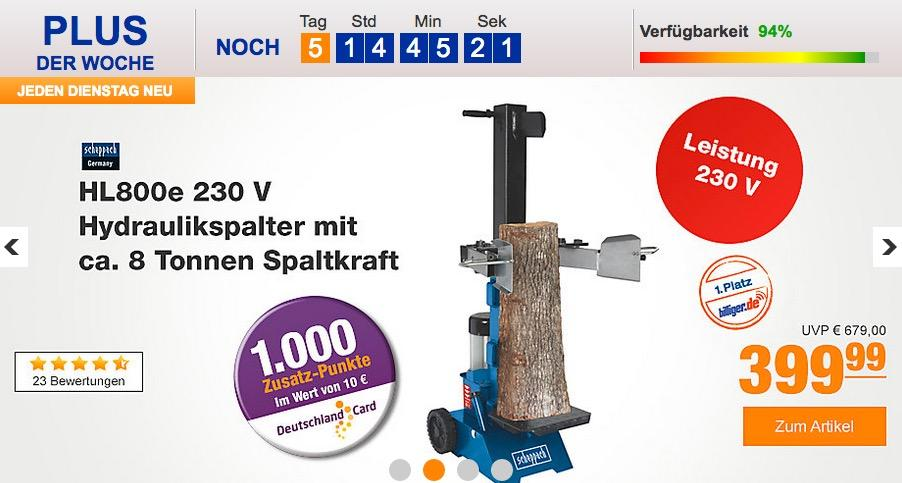 Scheppach HL800e 230V Hydraulikspalter mit 8 Tonnen-Spaltkraft - jetzt 13% billiger