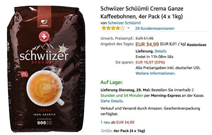 Schwiizer Schüümli Crema Ganze Kaffeebohnen, 4er Pack (4 x 1kg)