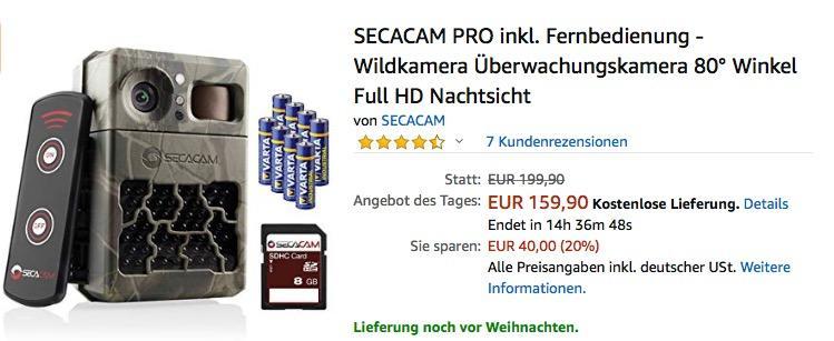 SECACAM PRO 80° Winkel Full HD Wildkamera inkl. Fernbedienung