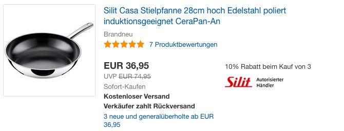 Silit Edelstahl Pfanne Ø 28 cm Casa, 6 cm hoch