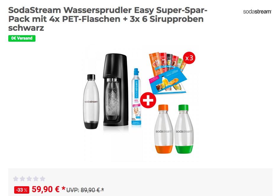SodaStream Wassersprudler Easy Super-Spar-Pack mit 4x PET-Flaschen + 3x 6 Sirupproben