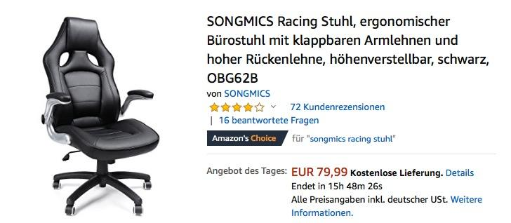 SONGMICS Racing Stuhl/Bürostuhl mit klappbaren Armlehnen, Schwarz (OBG62B)