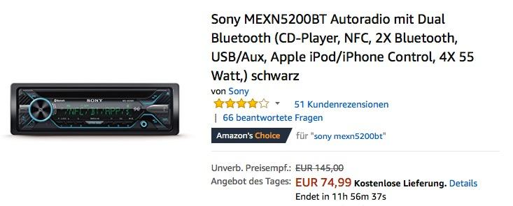 Sony MEXN5200BT Autoradio mit Dual Bluetooth in Schwarz