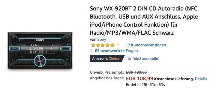 Sony WX-920BT 2 DIN CD Autoradio