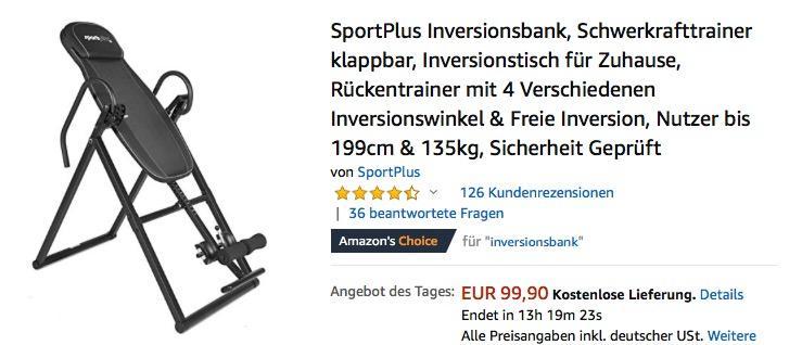 SportPlus Inversionsbank Schwerkrafttrainer für Nutzer bis 199cm & 135kg, schwarz oder rot/weiß
