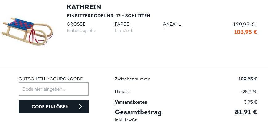 SportScheck.com - 25 % Extra-Rabatt auf ausgewählte Wintersportartikel: z.B. KATHREIN Einsitzerrodel NR. 12