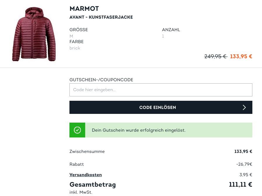 SportScheck.com extra 20 % Rabatt auf ausgewählte Jacken, Mänteln und Parkas: z.B.  Marmot Avant - Herren Kunstfaserjacke in Brick