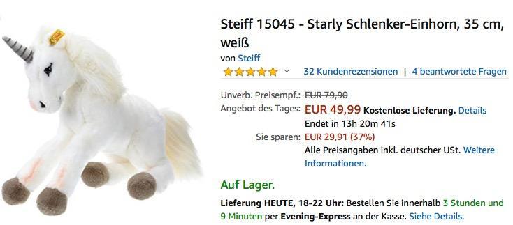 Steiff 15045 - Starly Schlenker-Einhorn