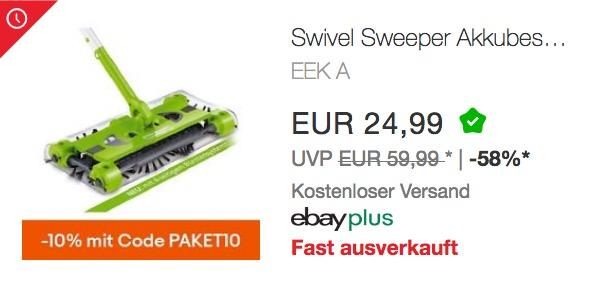 Swivel Sweeper G2 Akkubesen in Grün