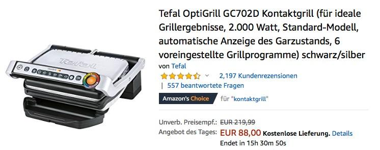 Tefal OptiGrill GC702D Elektro-Kontaktgrill 2.000 Watt