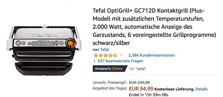Tefal OptiGrill+ GC712D Kontaktgrill, 2.000 Watt, 6 voreingestellte Grillprogramme