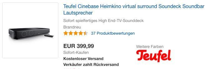 Teufel Cinebase Heimkino, Virtual Surround Soundeck-Soundbar