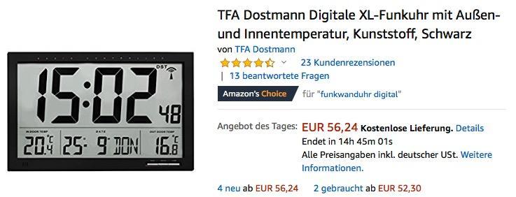 TFA Dostmann Digitale XL-Funkuhr mit Außen-und Innentemperatur (60.4510.01) in Schwarz