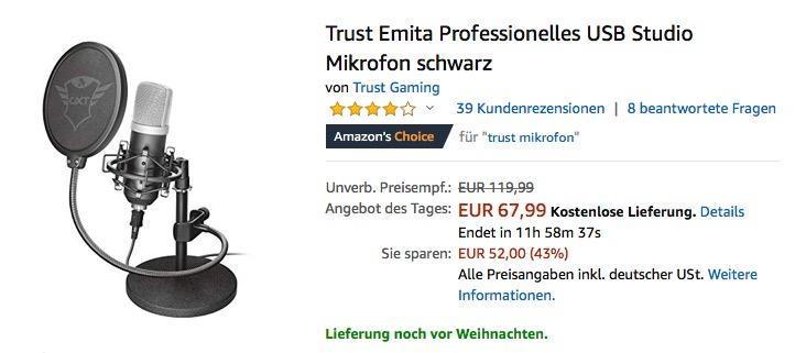Trust GXT 252 Emita Professionelles USB Studio Mikrofon (21753) - jetzt 32% billiger