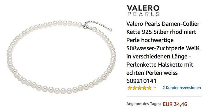 Valero Pearls Damen-Collier 925 Silber 40 cm Kette mit Süßwasser-Zuchtperlen