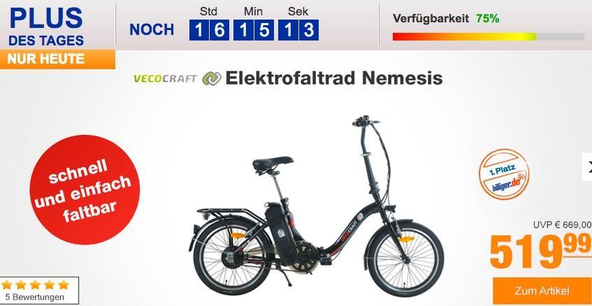 """Vecocraft 20"""" Elektrofaltrad Nemesis in Schwarz"""
