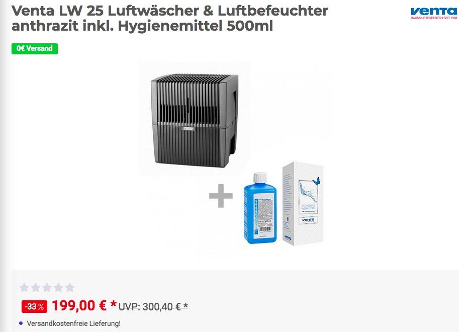 Venta LW 25 Luftwäscher & Luftbefeuchter anthrazit inkl. Hygienemittel 500ml