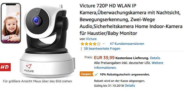 Victure 720P HD WLAN IP Überwachungskamera mit Nachtsicht