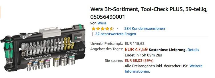 "Wera Bit-Sortiment  Schraubendreher-Set ""Tool-Check PLUS"", 39-teilig"