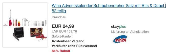 Wiha Adventskalender, Schraubendreher Satz mit Bits & Dübel, 52-teilig