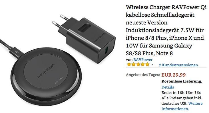 Wireless Charger RAVPower Qi kabellose Schnellladegerät - jetzt 19% billiger