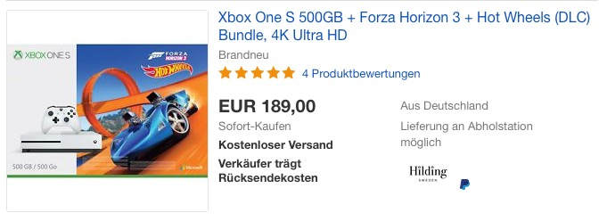 Xbox One S 500GB Konsole - Forza Horizon 3 Hot Wheels Bundle - jetzt 18% billiger
