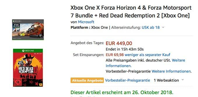 Xbox One X Forza Horizon 4 & Forza Motorsport 7 Bundle + Red Dead Redemption 2