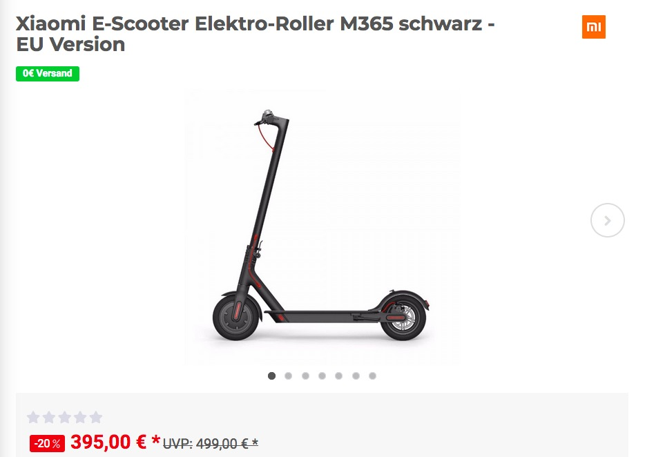 Xiaomi E-Scooter Elektro-Roller M365 in Schwarz - EU Version