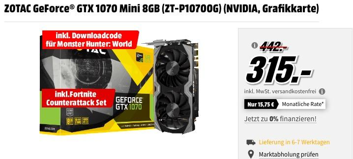 ZOTAC GeForce® GTX 1070 Mini 8GB (ZT-P10700G) Grafikkarte inkl. Downloadcode für MonsterHunter: World und Fortnite Counterattack Set